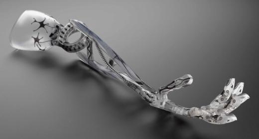 Une prothèse de bras articulée fabriquée par l'Université de Nottingham. Crédits: Science Museum.