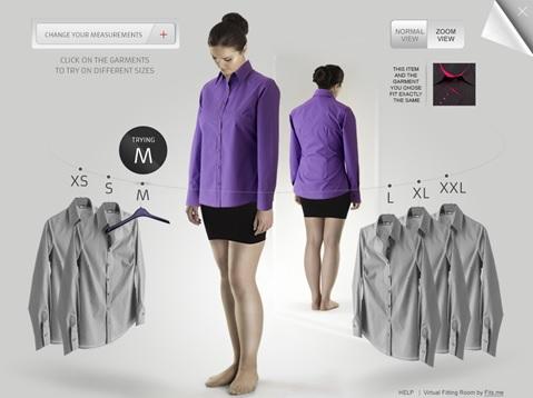 Interface d'une cabine d'essayage virtuelle par Fits.me.