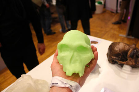 The 3D reproduction of a skull that allow students to examine it while preserving the original skull.