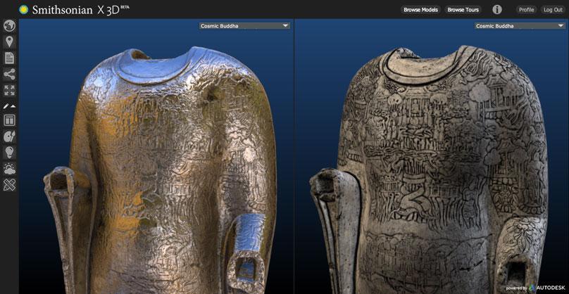 Une vue de l'étude d'une statue rendue possible par le logiciel Smithsonian X 3D.