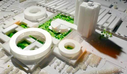 Plans d'extensions d'un hôpital. Designs par Henning Larsen Designs Lush Green Heart.