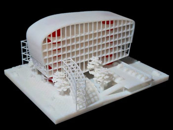 A 3D printed model. You can see the precision of the 3D printing for architectural models.