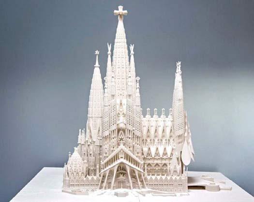 Un modèle de la Sagrada Familia imprimé en 3D.