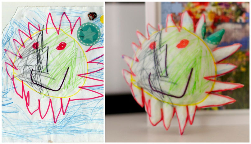 A 3D printed toy by Crayon Creatures from child's drawings.