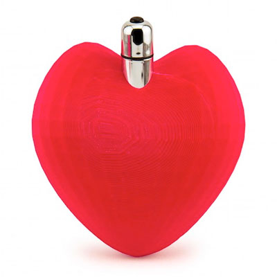 Heart shape 3D printed sex toy with bullet vibrator, from makerlove.com