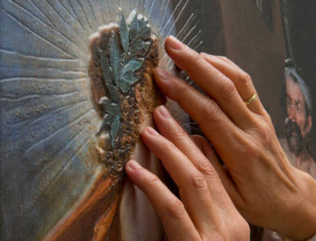 A 3D printed painting displayed at the Prado Museum in Madrid to provide a better visitor experience.