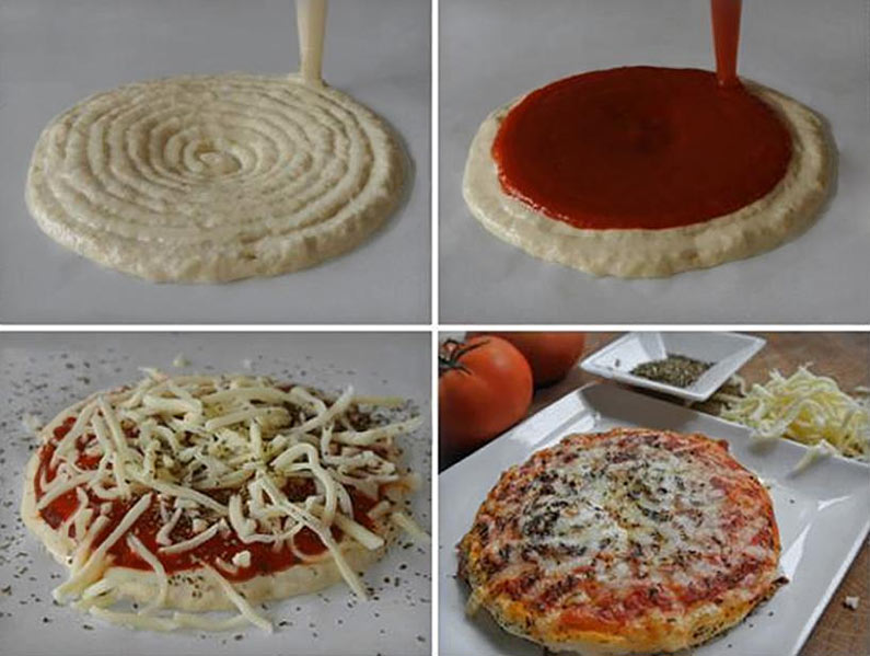 The different steps of the pizza's 3D printing.