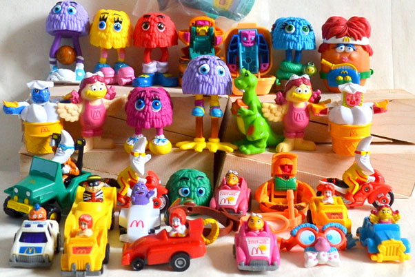 A collection of Happy Meals toys proposed in Mc Donald's restaurant.