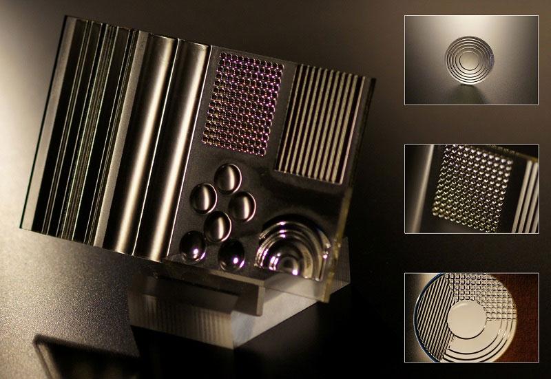 Plusieurs exemples d'objets en verre imprimés en 3D grâce à la technologie Printoptical et qu'il aurait été très compliqués de concevoir avec les méthodes traditionnelles.