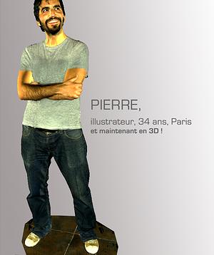 Une modélisation 3D de Pierre, un des dessinateurs de la startup 3D AVATAR réalisée dans leur photomaton.