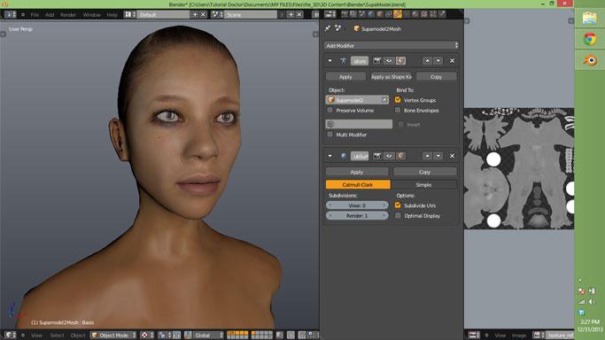 Un modèle 3D avec UV maps (texture = couleur) dans le logiciel 3D blender.