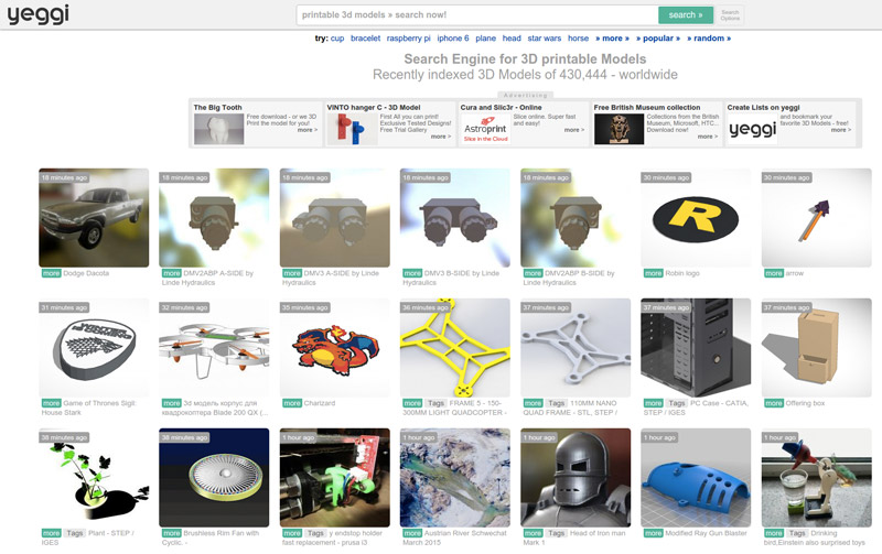 List of online marketplaces and sites for downloading free STL files for 3D printers