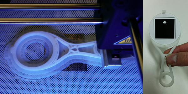 The 3D printed marker holder on the Zortrax M200