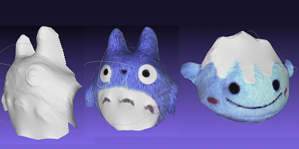 3D scans of Totoro and Fuji-san plushes with the Fuel3D SCANIFY