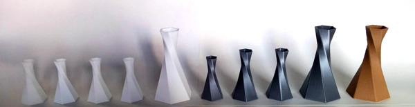 Vases made with several types of filaments and 3D printers