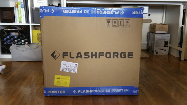 The Flashforge Creator Pro comes in a fairly large box of about 20 kilos.