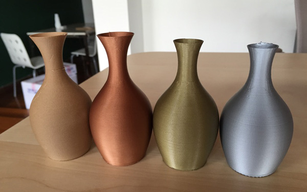 Vases 3D printed with Voltivo 3D filament ExcelFil TECH