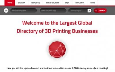 3DPRINTINGBUSINESS.DIRECTORY, a global directory to unite 3D printing businesses