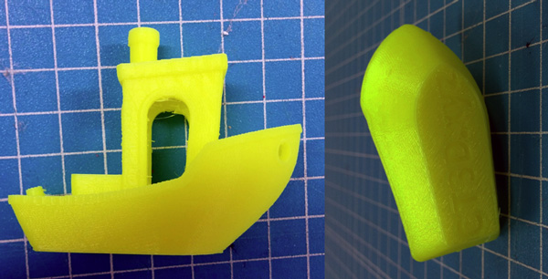 The final result of the Benchy 3D printed in 200 microns resolution. The Flor color makes the details hard to see but the real life is far better than the pictures.