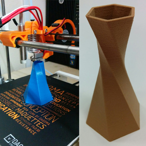 Twisted Vase 3D printed with Octofiber Blue PLA and Polymaker Polywood