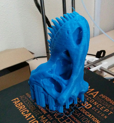 Trex skull 3D printed in full size with Octofiber Blue PLA