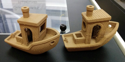 Benchy 3D printed with Excel Fill Wood composite, 100 microns resolution on the left, 200 microns on the right.