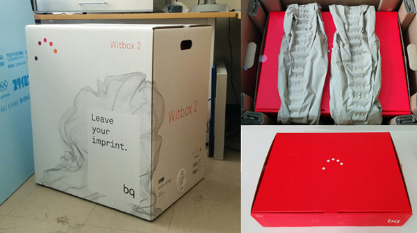 The bq Witbox 2 packaging.