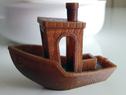 Benchy printed with the Proto-pasta Aromatic Coffee at 100 microns resolution.