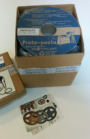 The delivery of several Proto-pasta 3D filaments, including the Aromatic Coffee HTPLA.
