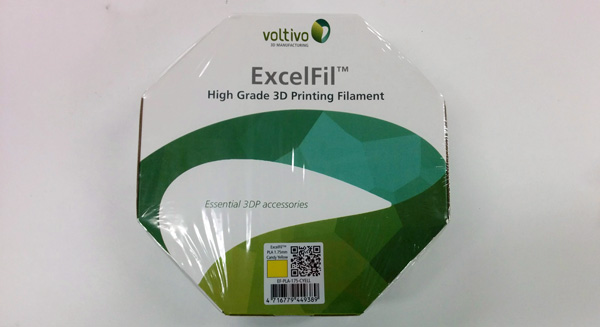A filament spool of Voltivo ExcelFil PLA before we open it for our review
