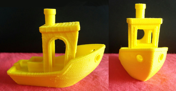 Benchy 3D printed with Voltivo ExcelFil EVO at 200 microns resolution.