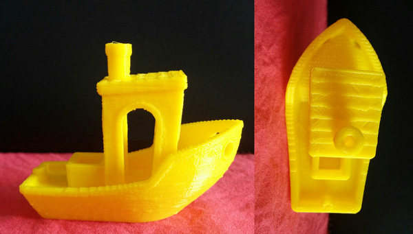 Benchy 3D printed with Voltivo ExcelFil PLA at 300 microns resolution.