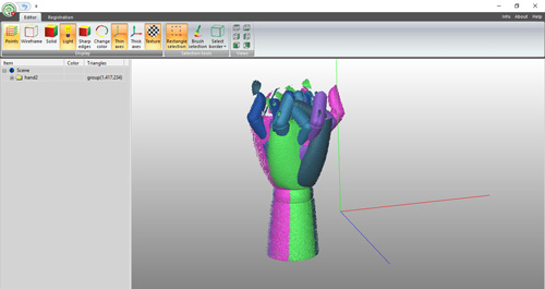 RangeVision ScanMerge 3D software, used for reconstructing 3D models from multiple 3D scans.