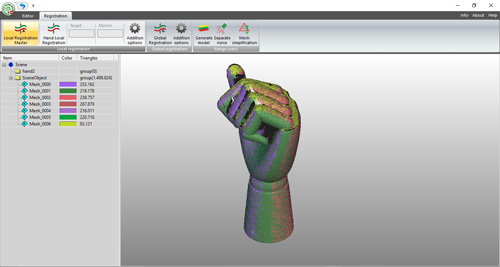 RangeVision ScanMerge 3D software, used for reconstructing 3D models from multiple 3D scans. Aligned 3D scans create a nice 3D model.