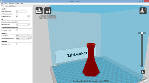 The Ultimaker 2+ 3D software: Cura.