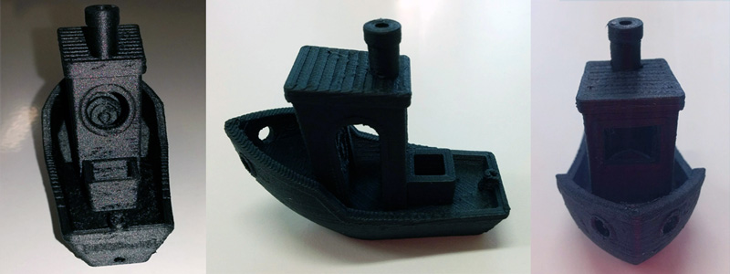 Benchy printed with the Proto-pasta Carbon Fiber PLA at 200 microns resolution.