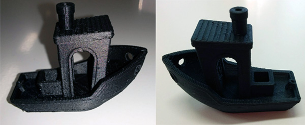 Benchy being printed in Proto-pasta Carbon Fiber filament with our Dagoma Discovery200.