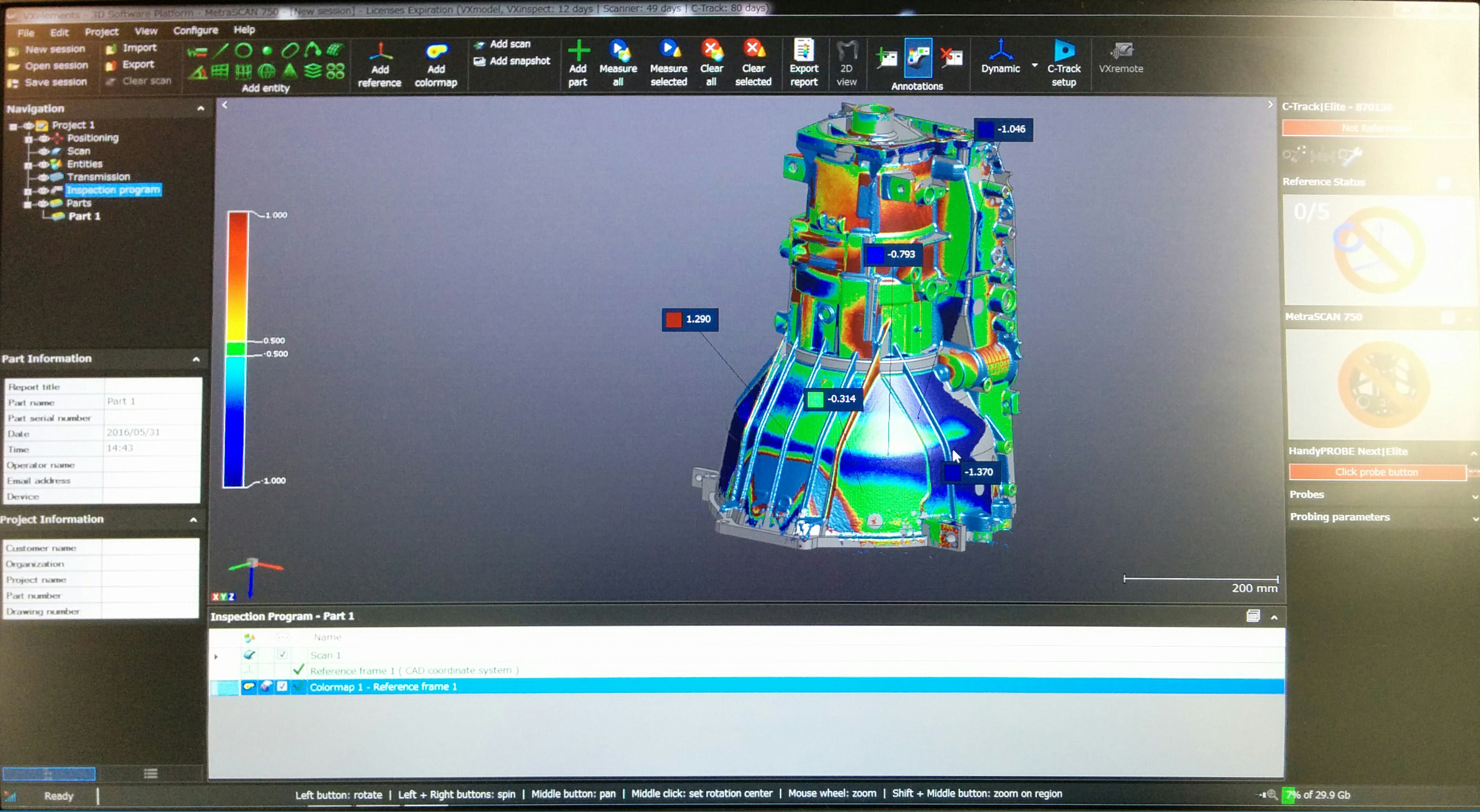 Measuring the offset between the CAD model and the real part inside VXElements software.