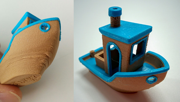 Dual material 3D Benchy 3D printed on the CEL Robox with Robox Woody Beech and ColorFabb nGen Light Blue 3D filaments.