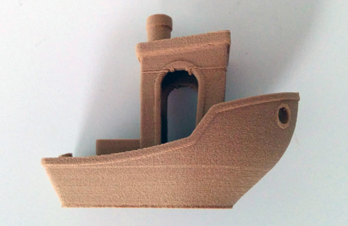 3D Benchy 3D printed on the CEL Robox with Robox Woody Beech 3D filament.