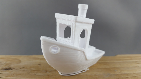 Benchy 3D printed on a Flashforge Creator Pro with MadeSolid PET+ White 1.75 mm