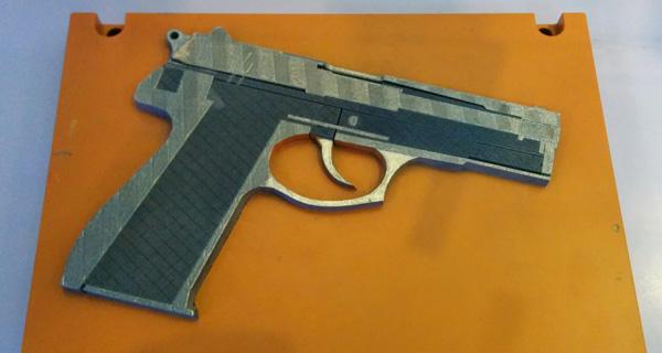 Metal 3D printed gun.