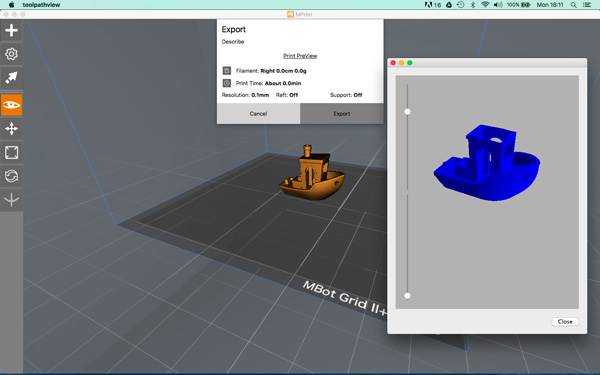 The MBot Grid 2 Plus software MPrintPre View option.