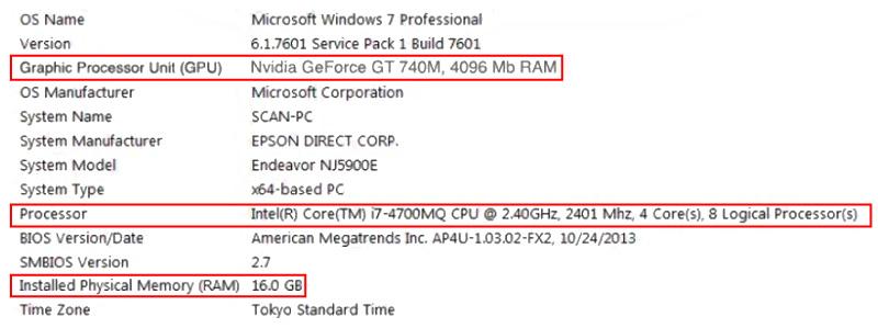 Characteristics of the our laptop Windows computer. Minimal configuration for Artec Eva and Artec Studio 11.