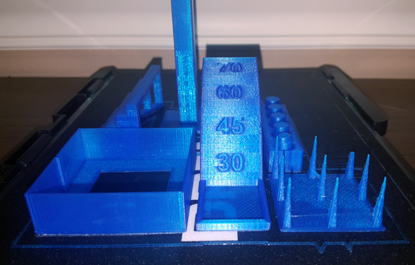 Make torture test close up 3D printed on the Dremel Idea Builder 3D40.