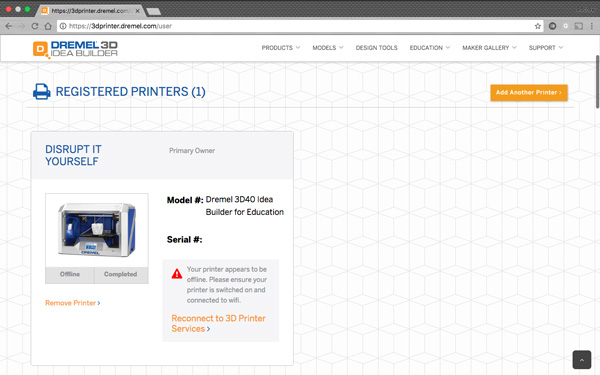 The Dremel 3D40 Idea Builder online interface.