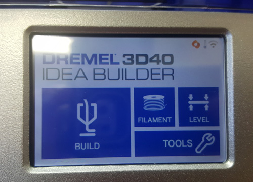 The LCD screen interface of the Dremel 3D40 Idea Builder for Education.