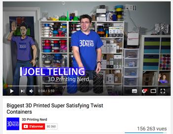 3D printing Nerd est l'un des Youtubers les plus connus dans le domaine de l'impression 3D.