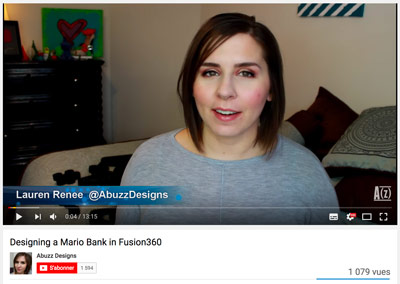 The best 3D printing YouTube channels Abuzz Designs, Lauren presenting her latest 3D creations.
