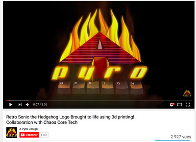 The 3D printing YouTube channels A Pyro Design. He is bringing 2D logos to life.